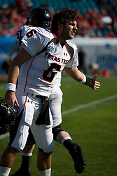 Texas Tech quarterback Graham Harrell (6) fires up teammates before the start of the Gator Bowl.  The Texas Tech Red Raiders defeated the Virginia Cavaliers 31-28 in the 2008 Konica Menolta Gator Bowl held at the Jacksonville Municipal Stadium in Jacksonville, FL on January 1, 2008.