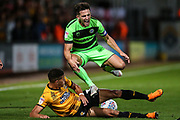 Cambridge United's Jake Carroll(3) tackles Forest Green Rovers Liam Shephard(2) is shown a red card, sent off during the EFL Sky Bet League 2 match between Cambridge United and Forest Green Rovers at the Cambs Glass Stadium, Cambridge, England on 2 October 2018.