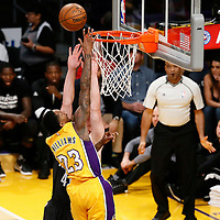 15 November 2016:  Los Angeles Lakers guard Louis Williams (23) goes for the layup against Brooklyn Nets center Justin Hamilton (41) during the LA Lakers 125-118 victory over the Brooklyn Nets, at the Staples Center, Los Angeles, California, USA.
