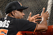 PHOENIX, AZ - JUNE 11:  Barry Bonds #25 of the Miami Marlins reacts during batting practice prior to the game against the Arizona Diamondbacks at Chase Field on June 11, 2016 in Phoenix, Arizona. The Arizona Diamondbacks won 5-3.  (Photo by Jennifer Stewart/Getty Images)