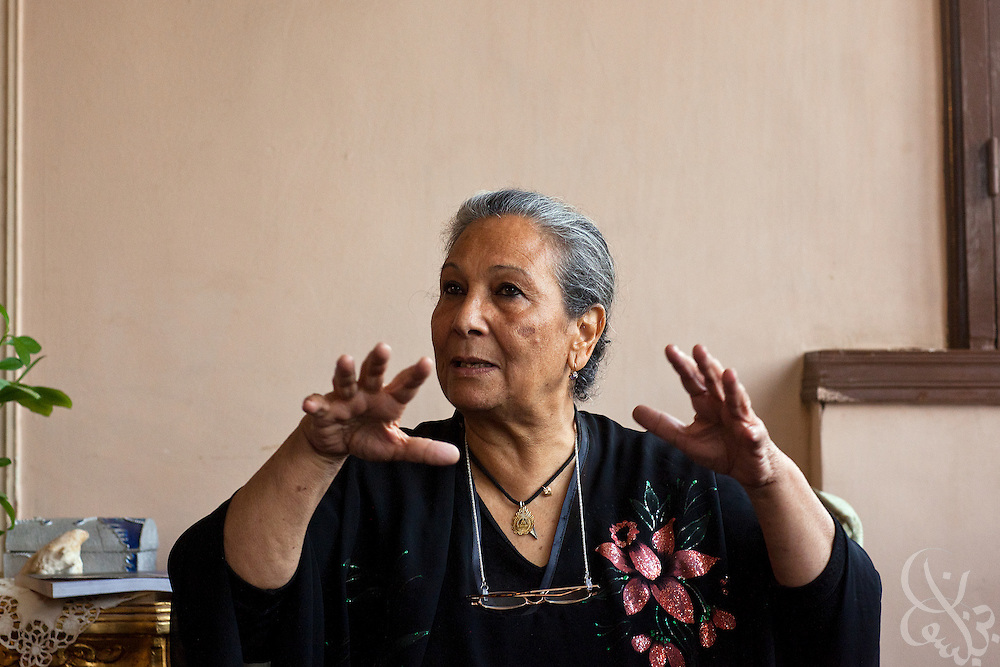 Egyptian political activist Shahinda Mekled speaks with a journalist at her home in the Nasr City district of Cairo, Egypt April 4, 2011. (Photo by Scott Nelson/www.scottnelsonimages.com)