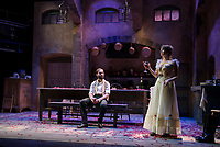 "Jean played by Nicholas Wilder and Miss Julie played by Rebecca Tucker on stage at the Winnipesaukee Playhouse during dress rehearsal Tuesday evening for their upcoming production of ""Miss Julie"".  (Karen Bobotas/for the Laconia Daily Sun)"