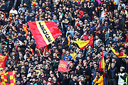Supporters of Lecce during the Italian championship Serie A football match between SS Lazio and US Lecce Sunday, Nov. 10, 2019 at the Stadio Olimpico in Rome. SS Lazio defeated US Lecce 4-2. (Federico Proietti/Image of Sport)
