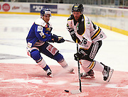 Daniel Kissel of Stavanger and Herman Kopperud of Sparta during the Terminliste Get-Ligean match between Stavenger Oilers and Sparta at DNB Arena, Stavanger, Norway on 15 September 2016. Photo by Andrew Halseid-Budd.