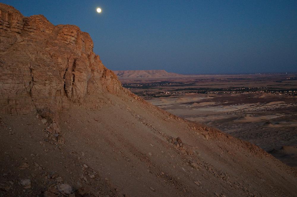 Moonrise over Al-Qasr, Dakhla Oasis