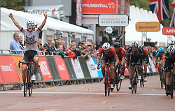Pascal Ackermann (left) celebrates winning the Prudential RideLondon Surrey Classic during day two of the Prudential Ride London.