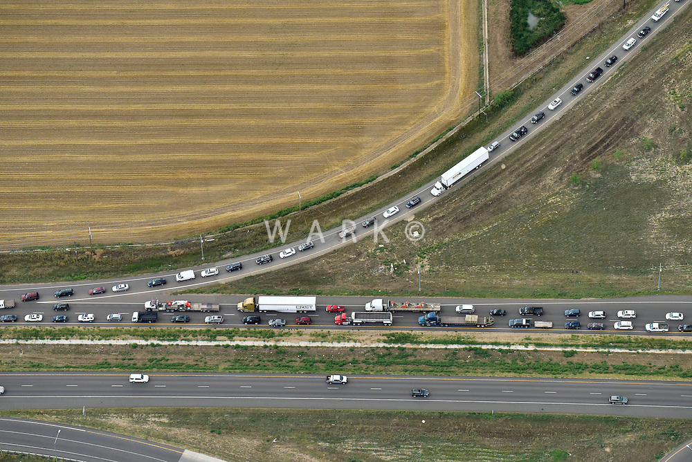 Traffic jam I-25 south of Ft. Collins, Colorado. Aug 15, 2014.  812436