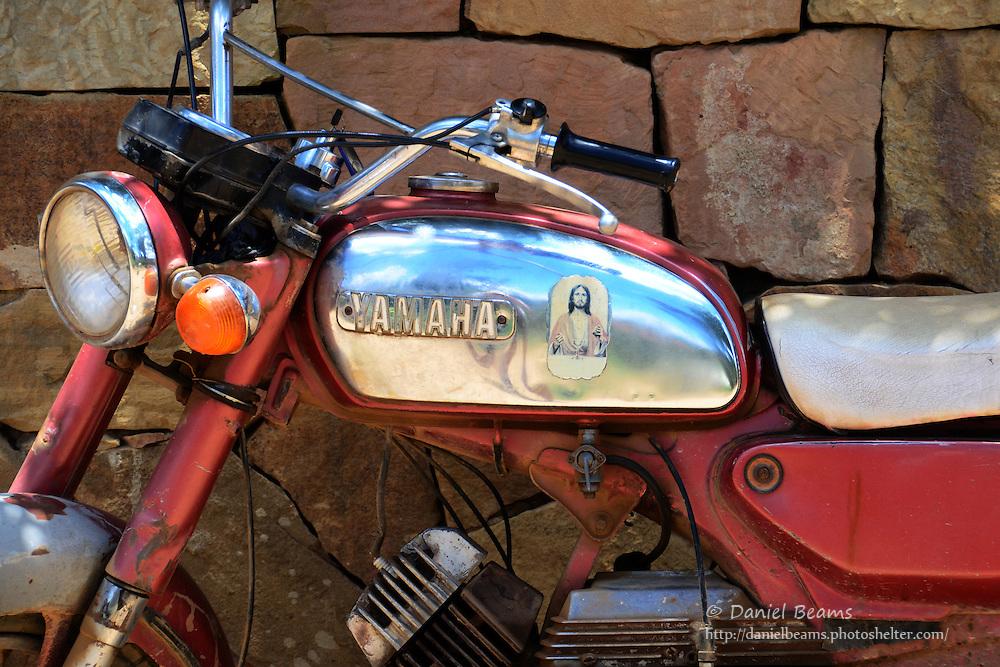 Old Yamaha motorcycle in Samaipata, Santa Cruz, Bolivia
