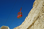 Israel, Rosh Hanikra, (lit head of the grottos) located on the coast of the Mediterranean Sea, in the Western Galilee near the border with Lebanon. The cable car to the grottos
