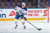 PENTICTON, CANADA - SEPTEMBER 8: Caleb Jones #82 of Edmonton Oilers skates with the puck during the first period against the Calgary Flames on September 8, 2017 at the South Okanagan Event Centre in Penticton, British Columbia, Canada.  (Photo by Marissa Baecker/Shoot the Breeze)  *** Local Caption ***