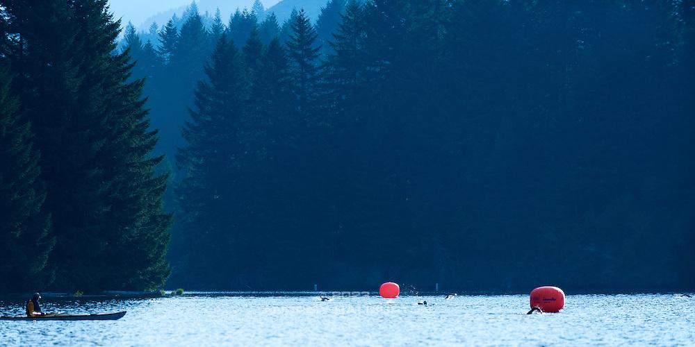 Foster Lake Half Ironman Swim.  Best in the West Triathlon.  Half Ironman Triathlon at Foster Lake on 10 September 2011, Sweet Home, Oregon.