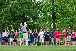 May 29, 2019 - Dublin, OH, U.S. - DUBLIN, OH - MAY 29: Fans watch as former NFL quarterback Peyton Manning hits a shot on the 18th fairway during the Pro-Am of the Memorial Tournament presented by Nationwide at Muirfield Village Golf Club on May 30, 2018 in Dublin, Ohio. (Photo by Adam Lacy/Icon Sportswire) (Credit Image: © Adam Lacy/Icon SMI via ZUMA Press)