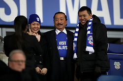 Cardiff City owner Vincent Tan (centre) during the Sky Bet Championship match at The Den, London.