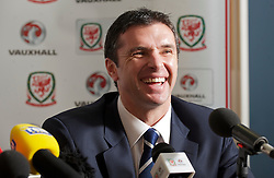 CARDIFF, WALES - Wednesday, January 12, 2011: Wales' manager Gary Speed during a press conference to announce that British car manufacturer Vauxhall is to become the official leading sponsorship partner to the Wales international football teams, at Cardiff City Stadium. (Pic by: David Rawcliffe/Propaganda).+++ THIS IMAGE IS FREE TO USE IN CONJUNCTION WITH EDITORIAL OF VAUXHALL'S SPONSORSHIP OF THE FAW. +++