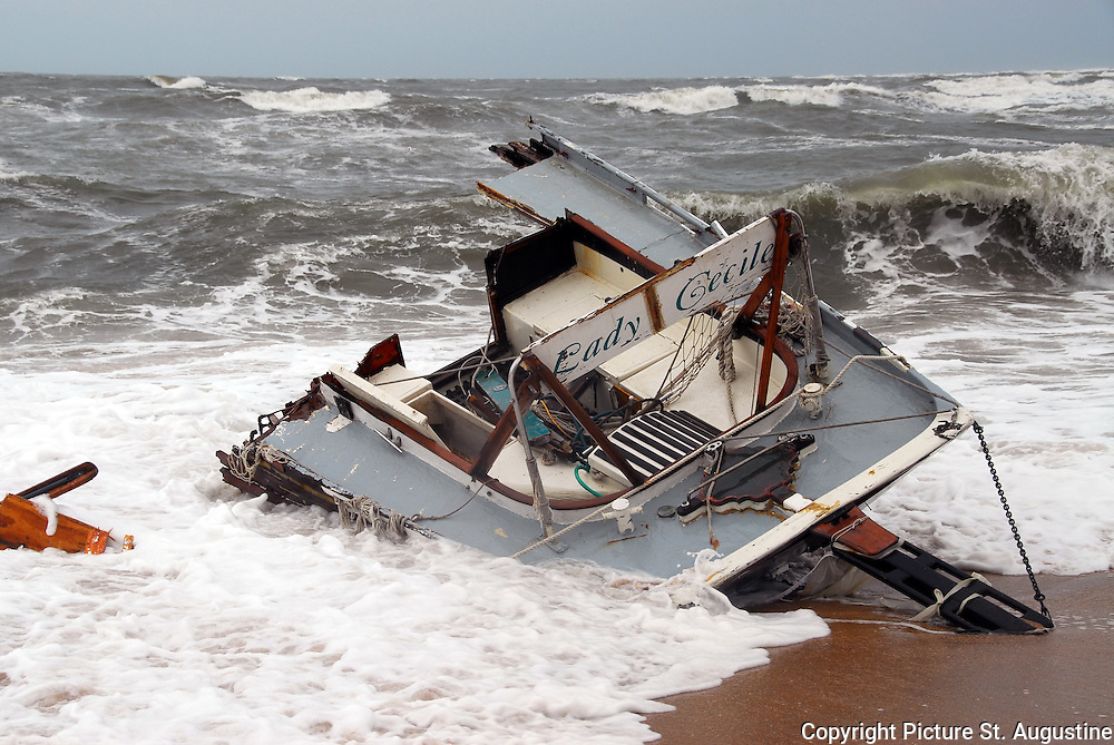 Destroyed by Fay. This is what is what remains of a 65 foot schooner sailboat that was left, High and Dry on Vilano Beach in St. Augustine, Florida.  The Captain had attempted to negotiate the extremely rough St. Augustine Inlet in the build up to Tropical Storm Fay.