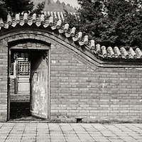 Doorway to a residence at the Twin Mountain Ridges village adjcent to the Jinshanling section of the Great Wall of China