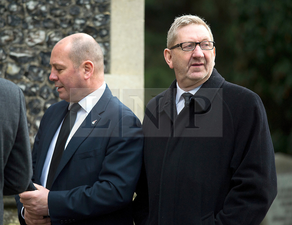 © Licensed to London News Pictures. 13/11/2015. London, UK.  STEVE TURNER ( left) and LEN MCCLUSKEY (right) of UNITE union arriving for The funeral of former Labour MP Michael Meacher at St Mary's Church in Wimbledon, south west London.  Michael Meacher, who was a Labour MP in Oldham for over 40 years, served as Minister of State for the Environment in the Tony Blair government.  Photo credit: Ben Cawthra/LNP