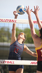 April 7, 2018 - Tucson, AZ, U.S. - TUCSON, AZ - APRIL 07: Arizona Wildcats defender Stephany Purdue (15) hits the ball during a college beach volleyball match between the Colorado Mesa Mavericks and the Arizona Wildcats on April 07, 2018, at Bear Down Beach in Tucson, AZ. Arizona defeated Colorado Mesa 4-1. (Photo by Jacob Snow/Icon Sportswire (Credit Image: © Jacob Snow/Icon SMI via ZUMA Press)
