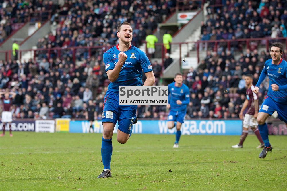 Gary Warren (Inverness 5) celebrates scoring a goal. Hearts v Inverness Scottish Premier League 23 February 2013
