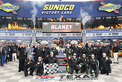 April 7, 2018 - Ft. Worth, Texas, United States of America - April 07, 2018 - Ft. Worth, Texas, USA: Ryan Blaney (22) wins the My Bariatric Solutions 300 at Texas Motor Speedway in Ft. Worth, Texas. (Credit Image: © Stephen A. Arce/ASP via ZUMA Wire)