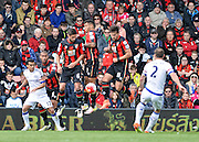 Chelsea Defender Branislav Ivanovic (2) free kick hits the bournemouth wall during the Barclays Premier League match between Bournemouth and Chelsea at the Goldsands Stadium, Bournemouth, England on 23 April 2016. Photo by Adam Rivers.