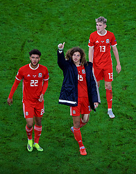 CARDIFF, WALES - Thursday, September 6, 2018: Wales' Tyler Roberts, Ethan Ampadu and David Brooks after the UEFA Nations League Group Stage League B Group 4 match between Wales and Republic of Ireland at the Cardiff City Stadium. Wales won 4-1. (Pic by Laura Malkin/Propaganda)