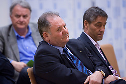 Mitja Mejac (R) and Ernest Aljancic (L) was again elected for new president at General assembly of  Ice-hockey Federation of Slovenia, on March 23, 2009, in Hotel Astoria, Bled, Slovenia. (Photo by Vid Ponikvar / Sportida)