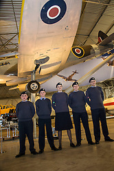Pictured: Corporal Fraser Munro, Cadet Michael Fraser, Flight Sergeant Hannah Munro, Cadet Gregor McLintock and Cadet Harrison Woolley from 132 squadron Air Cadet Corp North Berwick under the wing of a Spitfire<br /> <br /> <br /> The redeveloped National Museum of Flight at East Fortune has undergone a  £3.6 million refurbishment and now has aeroplanes including a Spitfire, a Harrier Jump Jet and a Tornado T-3 on display.    (c) Ger Harley, EEm 22 March 2016