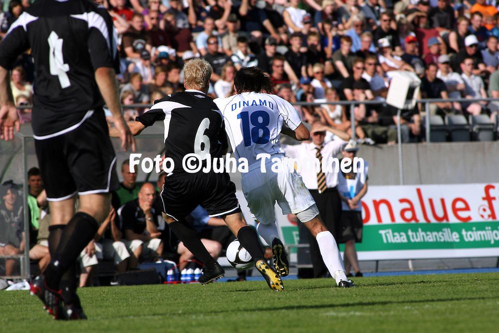02.07.2009, Lahti, Finland..UEFA Europa League, 1st Qualifying round, 1st leg match.FC Lahti - KS Dinamo Tirana.Kalle Eerola (FC lahti) v Mladen Brkic (Dinamo).©Juha Tamminen.