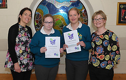 The Wild Atlantic Words literary festival award were presented to Amy Clifford and Mandy Haag by teachers Celine Maher and Keira Kennelly. <br />Pic Conor McKeown