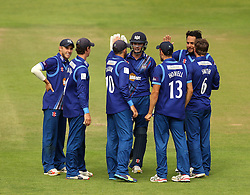 Gloucestershire celebrate the wicket of Durham's Calum Macleod - Mandatory by-line: Robbie Stephenson/JMP - 07966386802 - 04/08/2015 - SPORT - CRICKET - Bristol,England - County Ground - Gloucestershire v Durham - Royal London One-Day Cup