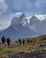 Hikers in Torres del Paine National Park. Image taken with a Fuji X-T1 camera and Zeiss 32 mm f/1.8 lens.