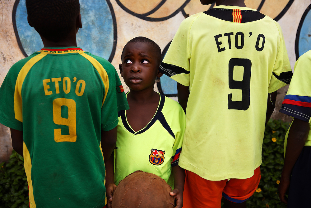 Eto'o fans among the young players at the 'Fondation Libiih Thomas' football school. All hoping for a future like their idol. ..Yaounde, Cameroon.