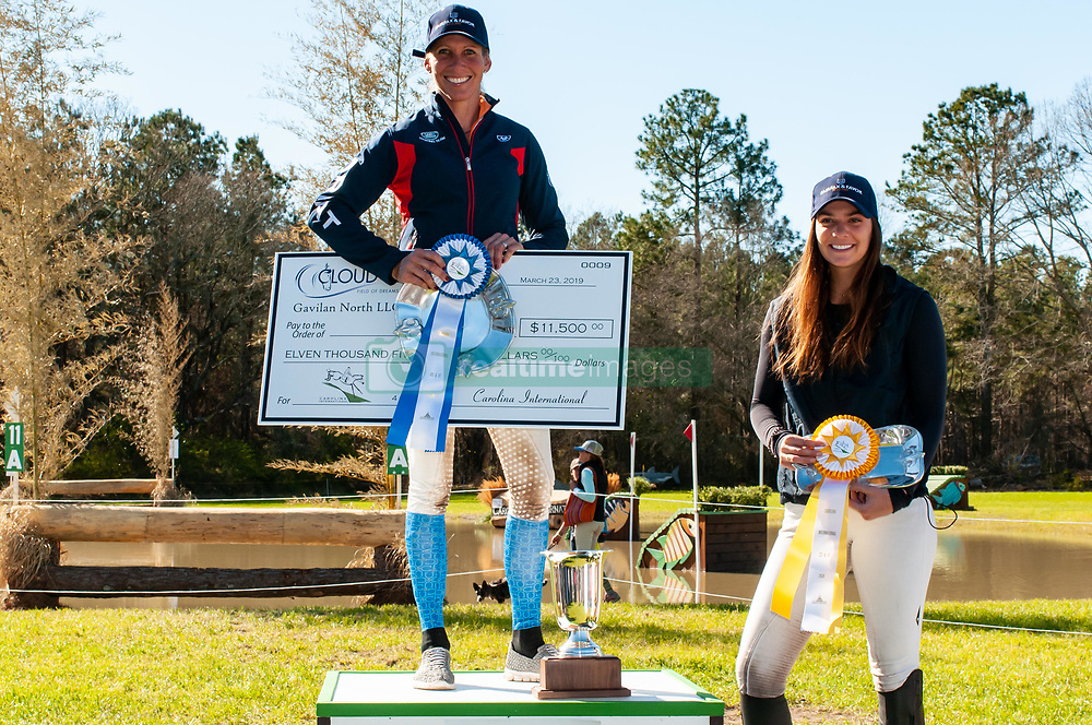 March 22, 2019 - Raeford, North Carolina, US - March 23, 2019 - Raeford, N.C., USA - LIZ HALLIDAY-SHARP of the United States won first and second place riding FERNHILL BY NIGHT and DENIRO Z, respectively, and HALLIE COON of the United States placed third riding CELIEN in the CCI-4S division at the sixth annual Cloud 11-Gavilan North LLC Carolina International CCI and Horse Trial, at Carolina Horse Park. The Carolina International CCI and Horse Trial is one of North AmericaÃ•s premier eventing competitions for national and international eventing combinations, hosting International competition at the CCI2*-S through CCI4*-S levels and National levels of Training through Advanced. (Credit Image: © Timothy L. Hale/ZUMA Wire)