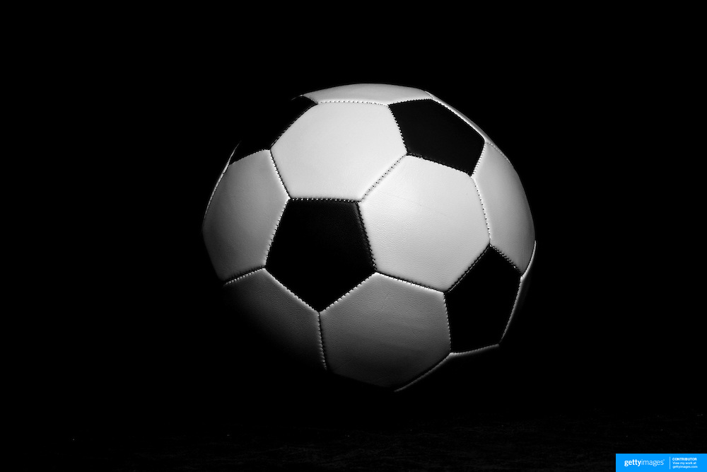 An artistic black and white studio shot of a football (soccer ball). 26th October 2012. Photo Tim Clayton