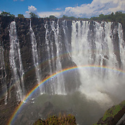 """Victoria Falls """"classic photo"""" on a sunny day. Livingston, Zambia."""