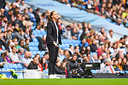 Casey Stoney of Manchester United Women (Manager) during the FA Women's Super League match between Manchester City Women and Manchester United Women at the Sport City Academy Stadium, Manchester, United Kingdom on 7 September 2019.