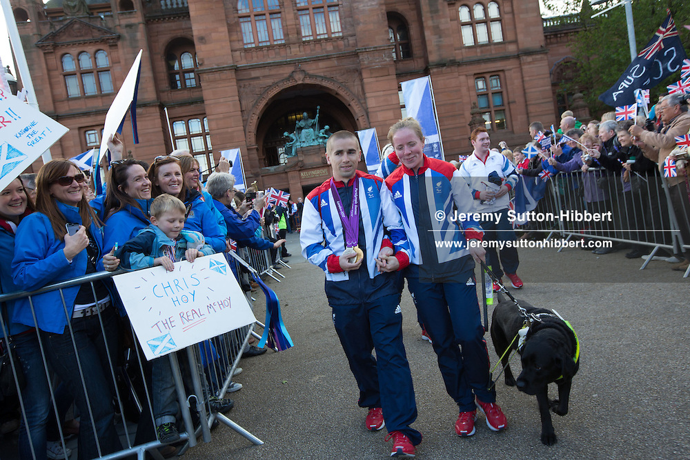 Olympic parade celebrations at Kelvingrove Museum and Art Galleries, Glasgow, Scotland, on Friday 14th September 2012.
