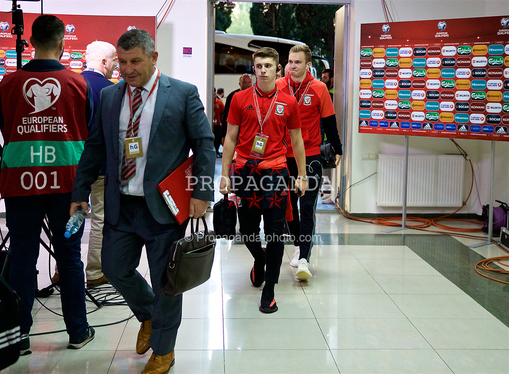 TBILSI, GEORGIA - Friday, October 6, 2017: Wales' Ben Woodburn arrives before the 2018 FIFA World Cup Qualifying Group D match between Georgia and Wales at the Boris Paichadze Dinamo Arena. (Pic by David Rawcliffe/Propaganda)