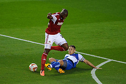 Bristol City Forward Marlon Harewood (ENG) is tackled by Bristol Rovers Defender Tom Parkes (ENG) during the first half of the match - Photo mandatory by-line: Rogan Thomson/JMP - Tel: 07966 386802 - 04/09/2013 - SPORT - FOOTBALL - Ashton Gate, Bristol - Bristol City v Bristol Rovers - Johnstone's Paint Trophy - First Round - Bristol Derby