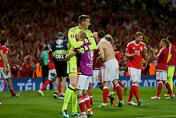 TOULOUSE, FRANCE - Monday, June 20, 2016: Wales' goalkeeper Wayne Hennessey and Jonathan Williams celebrate the 3-0 victory over Russia and reaching the knock-out stage during the final Group B UEFA Euro 2016 Championship match at Stadium de Toulouse. (Pic by David Rawcliffe/Propaganda)