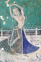 Inde. Rajasthan. Bundi. Peinture murale dans le palais. Danseuse de la cour. Chitra Shala (18é-19é siecle)// India. Rajasthan. Bundi. Painting inside the palace. Chitra Shala (18é-19é century)