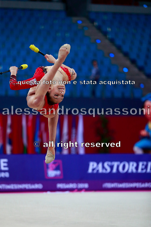 Lozic Suncica during the qualification of the clubs at the Pesaro World Cup 2018.<br /> She is a gymnast from Croatia born in Split in 2002.
