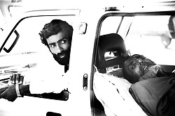 Pakistan, Karachi, 2004. A driver waits for coordination with a local hospital. The Edhi Foundation maintains the largest ambulance service in the country.