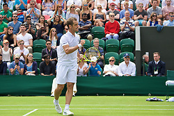 LONDON, ENGLAND - Tuesday, June 28, 2016: Richard Gasquet (FRA) celebrates winning 6-3, 6-4, 6-3 during the Gentlemen's Singles 1st Round match on day two of the Wimbledon Lawn Tennis Championships at the All England Lawn Tennis and Croquet Club. (Pic by Kirsten Holst/Propaganda)
