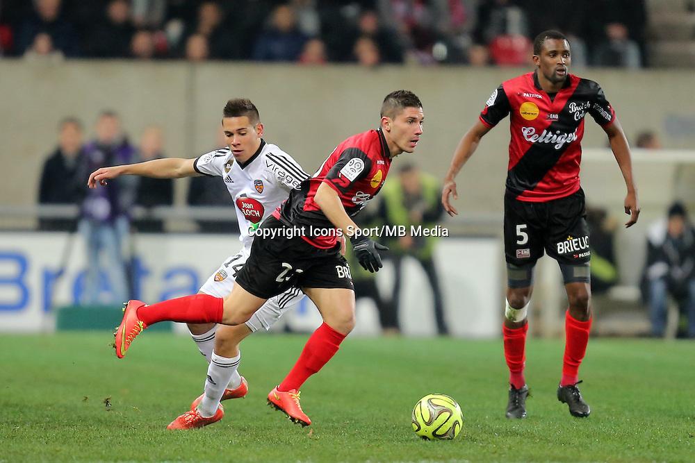 Raphael GUERREIRO / Jeremy PIED  - 24.01.2015 - Guingamp / Lorient - 22eme journee de Ligue1<br />Photo : Vincent Michel / Icon Sport *** Local Caption ***