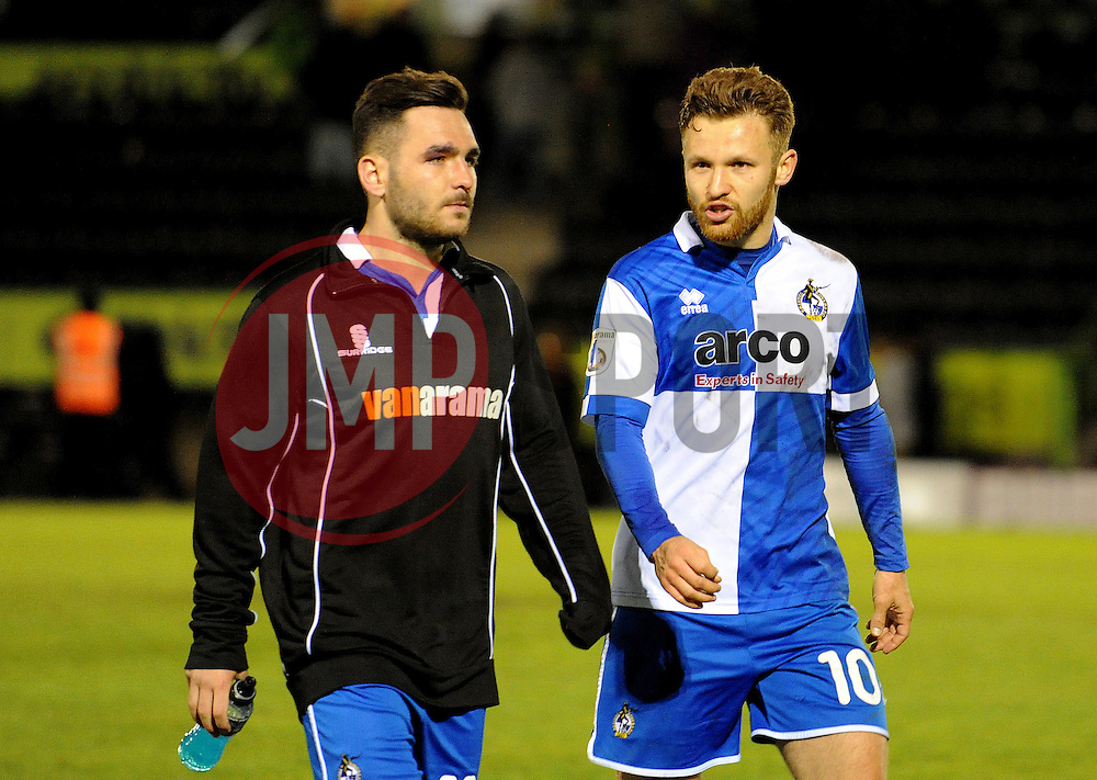 Bristol Rovers' Jake Gosling with Bristol Rovers' Matty Taylor - Photo mandatory by-line: Neil Brookman/JMP - Mobile: 07966 386802 - 29/04/2015 - SPORT - Football - Nailsworth - The New Lawn - Forest Green Rovers v Bristol Rovers - Vanarama Football Conference