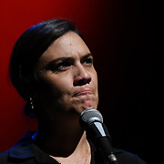 Nadine Shah is a musician and mental health campaigner preforms at the Just Say No - Artists Against Trump & War host by Stop the War Coalition, Trump is not welcome in the UK at The Shaw Theatre on 8th July 2018.