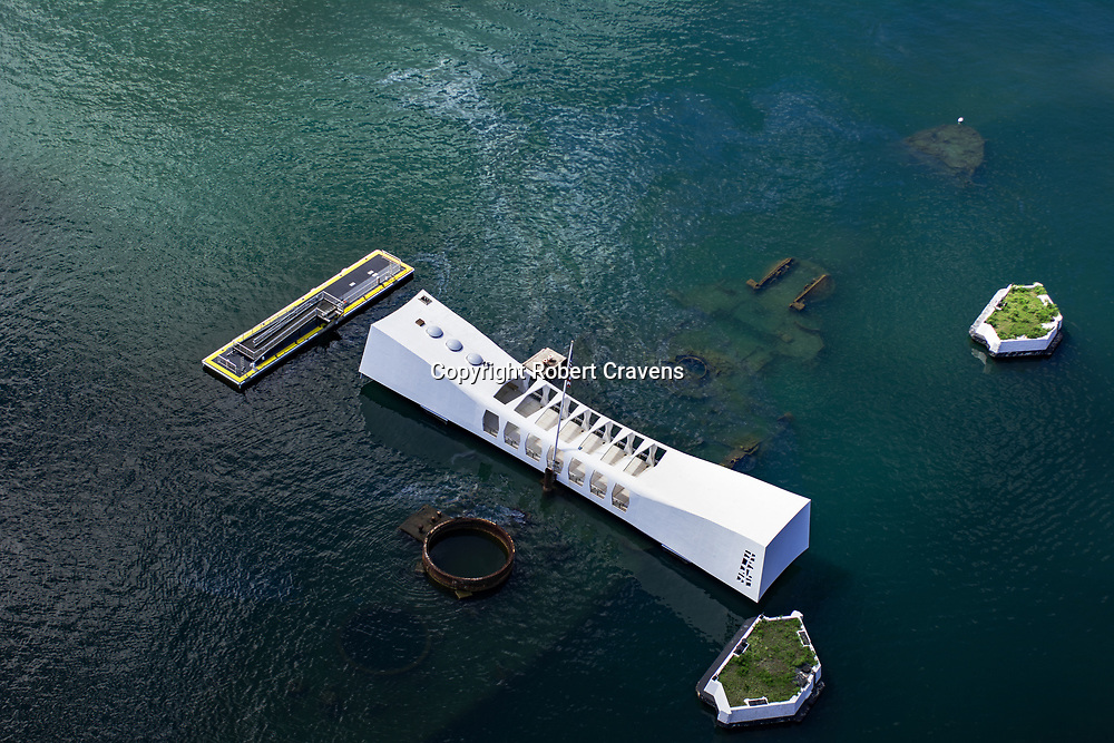 Pearl Harbor Oahu >> Helicopter Aerial Arizona Memorial Pearl Harbor Hawaii