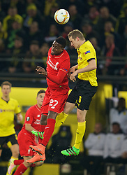 DORTMUND, GERMANY - Thursday, April 7, 2016: Liverpool's Divock Origi in action against Borussia Dortmund's Sven Bender during the UEFA Europa League Quarter-Final 1st Leg match at Westfalenstadion. (Pic by David Rawcliffe/Propaganda)